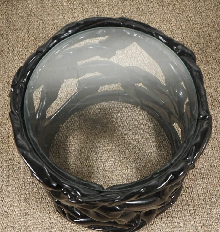 Painted Black Ribbon Table in Lucite For Sale