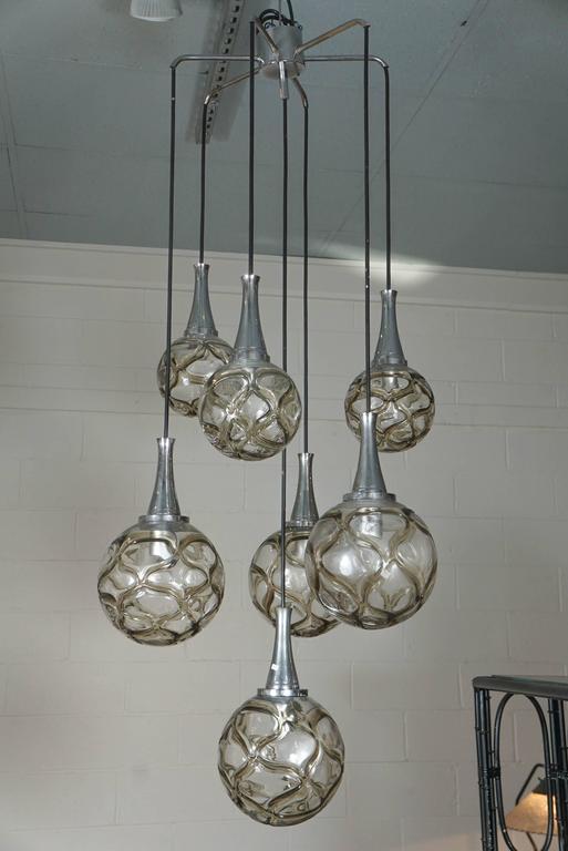doria leuchten multi glass globe chandelier at 1stdibs