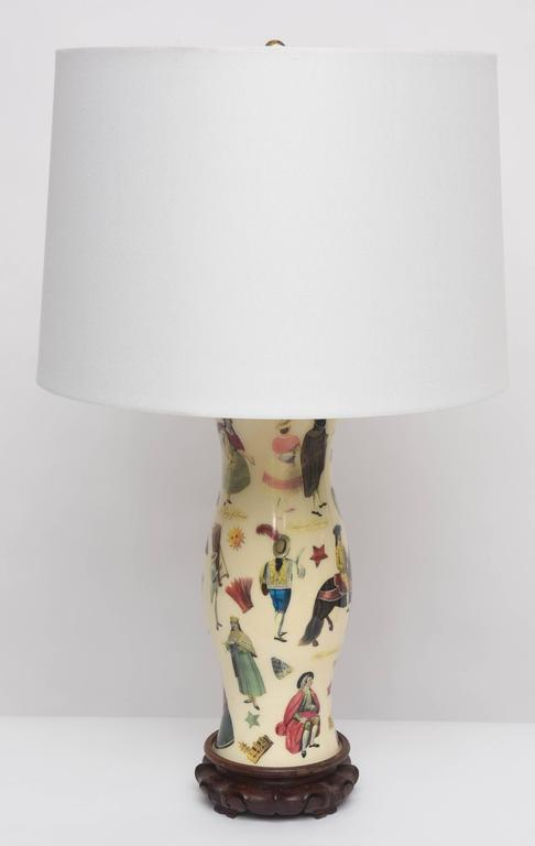 Pair of Whimsical Decoupage Lamps with Spanish Colonial Theme  2