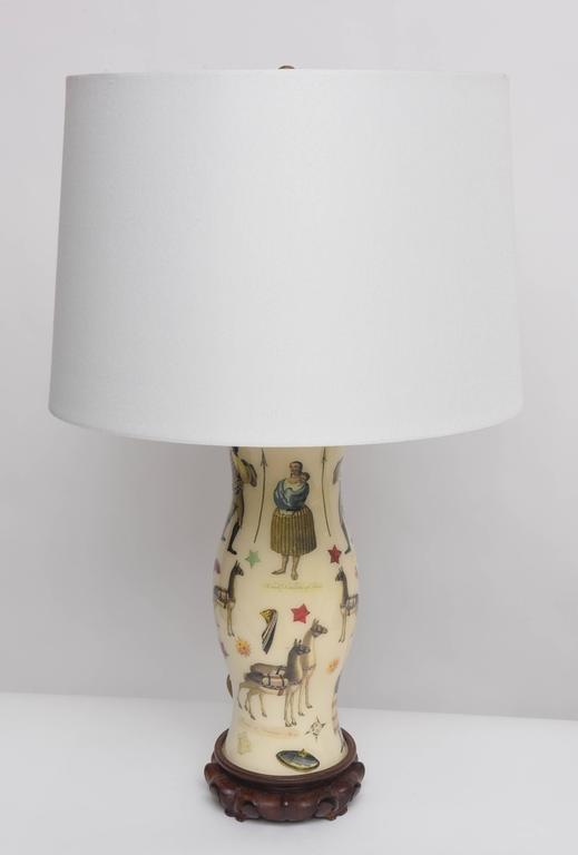 Pair of Whimsical Decoupage Lamps with Spanish Colonial Theme  3