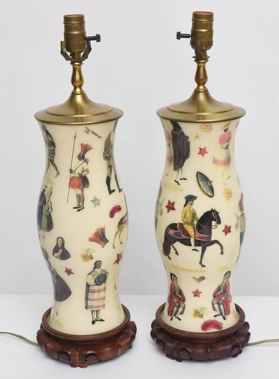 Pair of Whimsical Decoupage Lamps with Spanish Colonial Theme  6