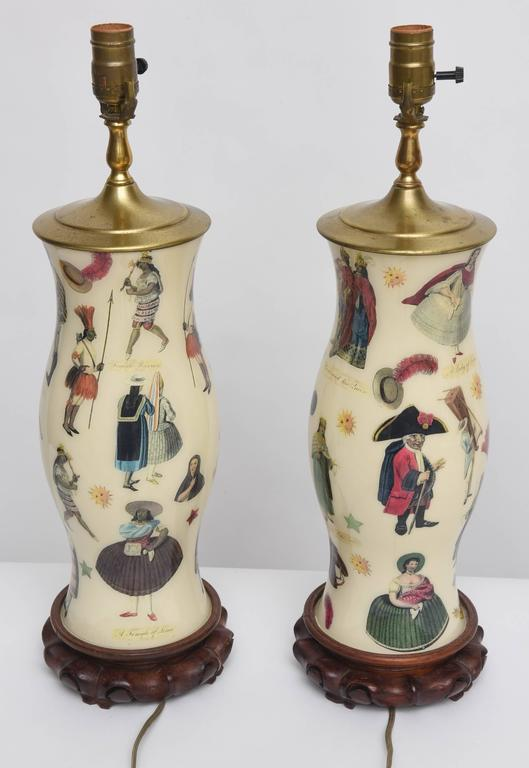 Pair of Vintage Decoupage Lamps with Spanish Colonial Theme  9