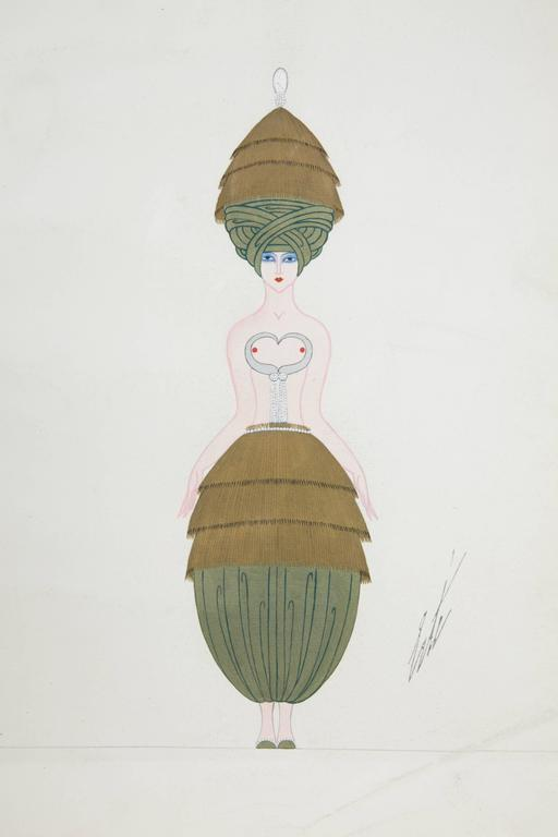 Amazing Art Deco costume project by Romain de Tirtoff known as Erté (1892-1990). Signed below right. Titled on the back