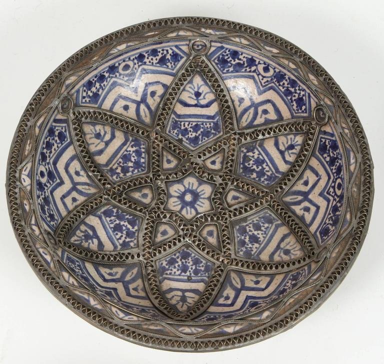 Decorative Wall Plates Set Of 4 : Set of four ceramic decorative plates from fez morocco