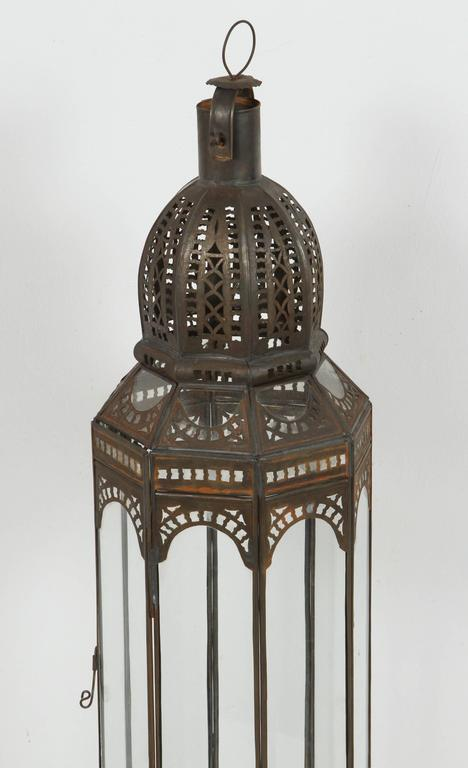 Hand-Crafted Set of Three Large Moroccan Moorish Clear Glass Lanterns For Sale