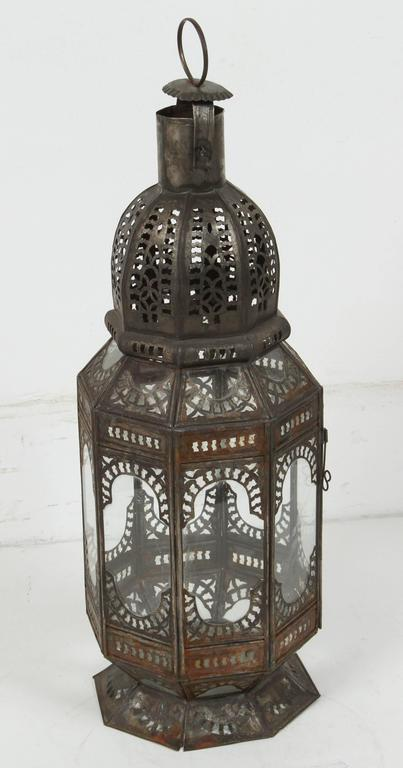Metal Set of Three Large Moroccan Moorish Clear Glass Lanterns For Sale