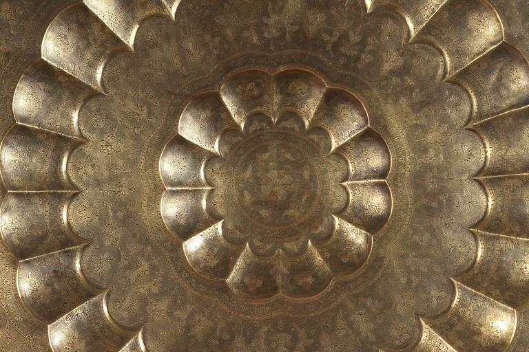 Anglo Raj Monumental Anglo-Indian Brass Hanging Tray Platter 47 Inches Diameter For Sale
