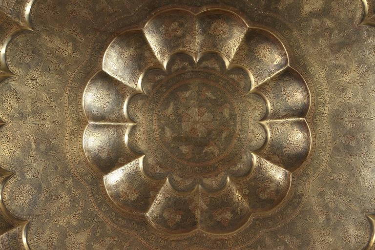 Hand-Carved Monumental Anglo-Indian Brass Hanging Tray Platter 47 Inches Diameter For Sale