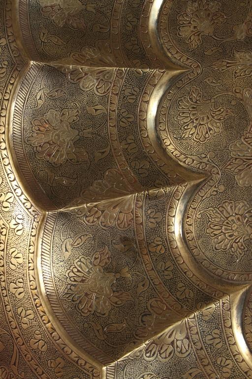 20th Century Monumental Anglo-Indian Brass Hanging Tray Platter 47 Inches Diameter For Sale