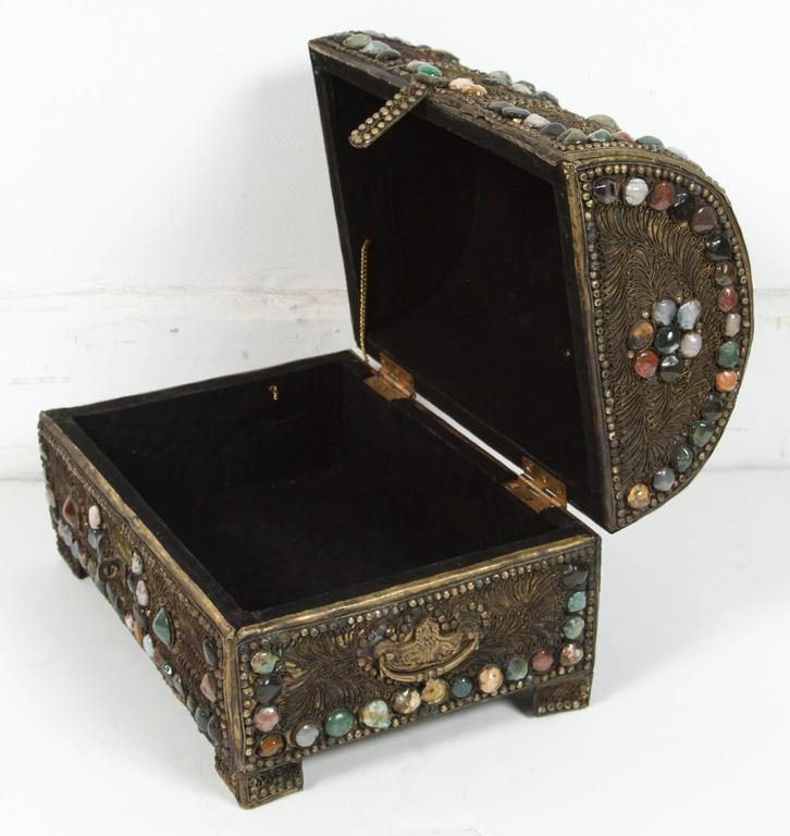 20th Century Large Vintage Inlaid Moroccan Wedding Jewelry Box For Sale