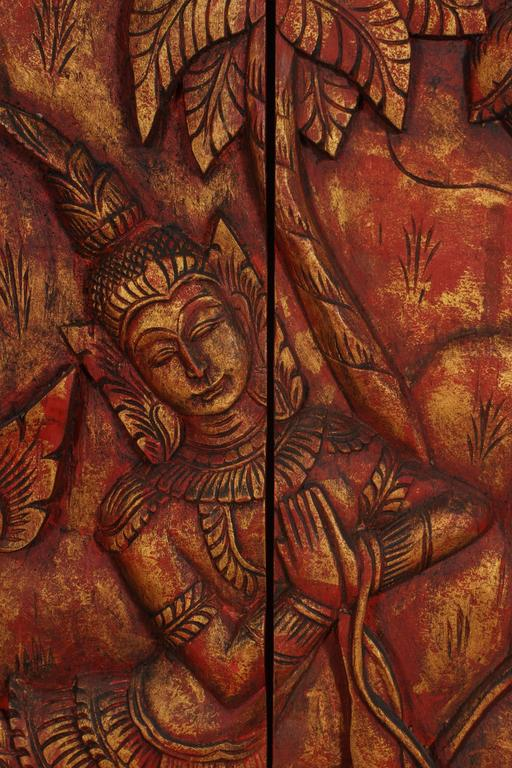 Tribal Antique Monumental Asian Hand-Carved Wooden Decorative Panel For Sale