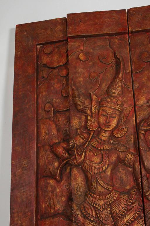 Thai Antique Monumental Asian Hand-Carved Wooden Decorative Panel For Sale