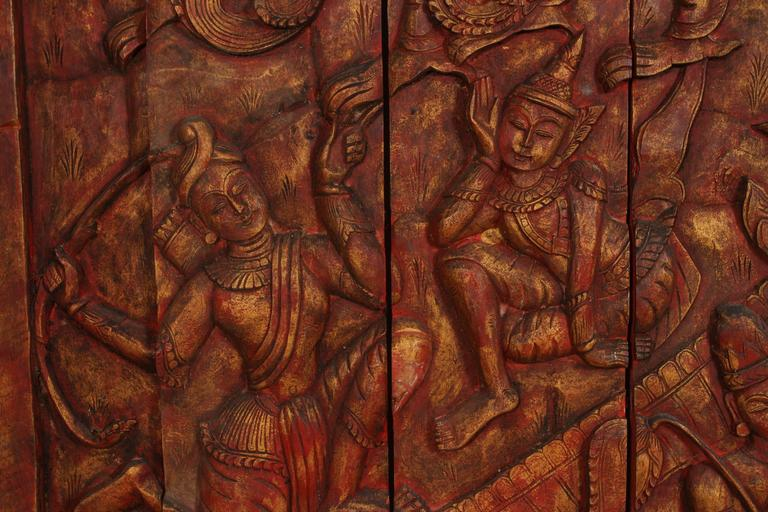 Antique Monumental Asian Hand-Carved Wooden Decorative Panel In Good Condition For Sale In North Hollywood, CA
