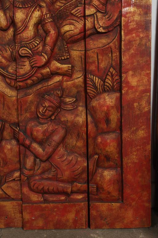 20th Century Antique Monumental Asian Hand-Carved Wooden Decorative Panel For Sale
