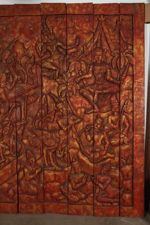 Antique Monumental Asian Hand-Carved Wooden Decorative Panel For Sale 2