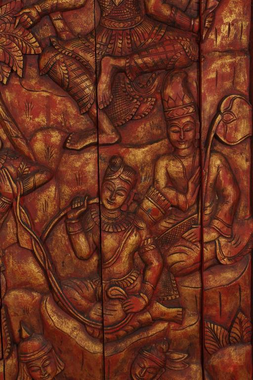 Antique Monumental Asian Hand-Carved Wooden Decorative Panel For Sale 3
