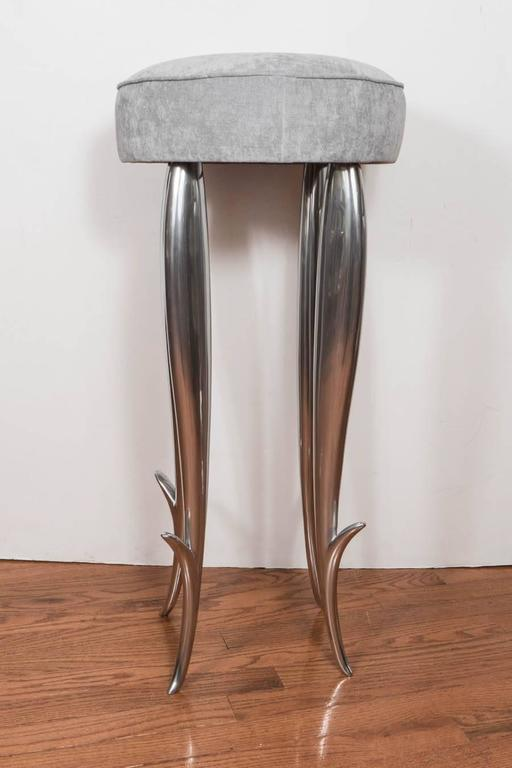 "Polished, cast aluminum ""Royalton"" stool by Philippe Starck for XO."