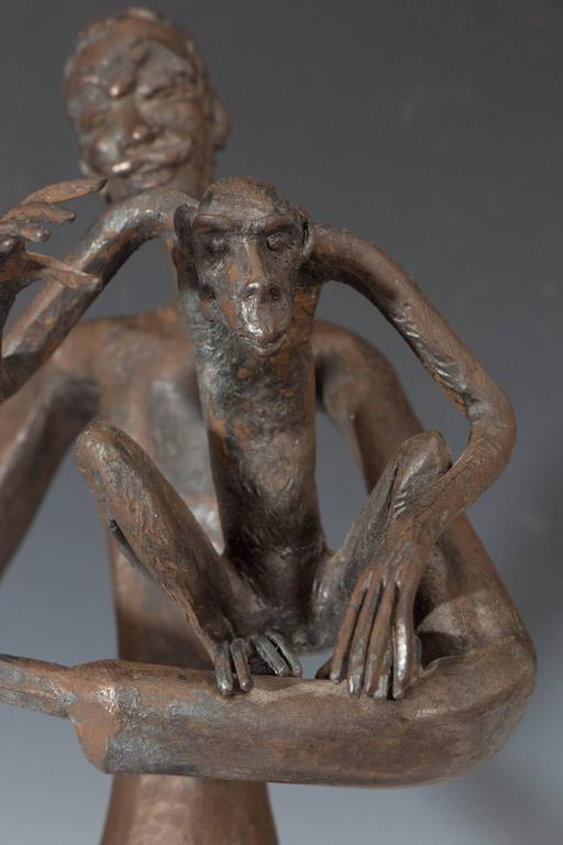 Modern Jean Marc Expressionist Bronze Sculpture of a Man and Monkey on Base For Sale