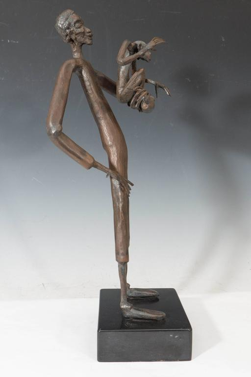 Jean Marc Expressionist Bronze Sculpture of a Man and Monkey on Base In Good Condition For Sale In New York, NY