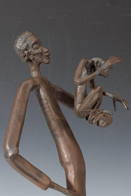 Mid-20th Century Jean Marc Expressionist Bronze Sculpture of a Man and Monkey on Base For Sale