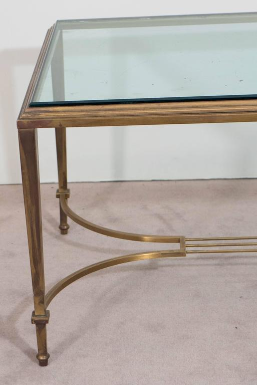 Neoclassical Style Glass Top Coffee Table in Brass, Attributed to Maison Jansen In Good Condition For Sale In New York, NY