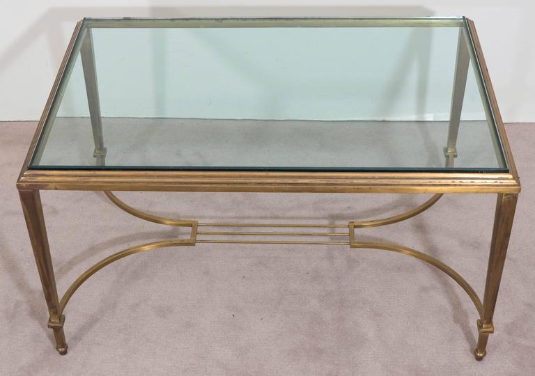 Mid-20th Century Neoclassical Style Glass Top Coffee Table in Brass, Attributed to Maison Jansen For Sale
