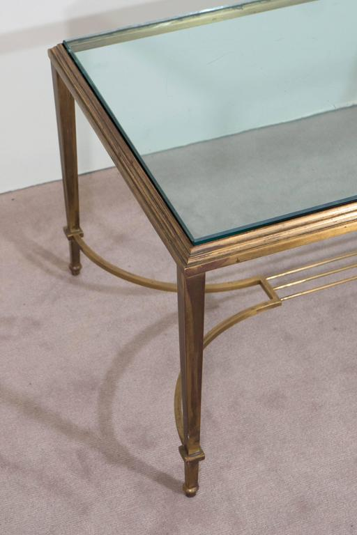 Neoclassical Style Glass Top Coffee Table in Brass, Attributed to Maison Jansen For Sale 1