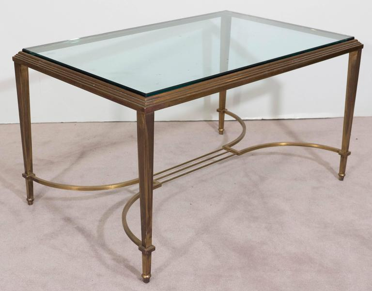 Neoclassical Style Glass Top Coffee Table in Brass, Attributed to Maison Jansen For Sale 2