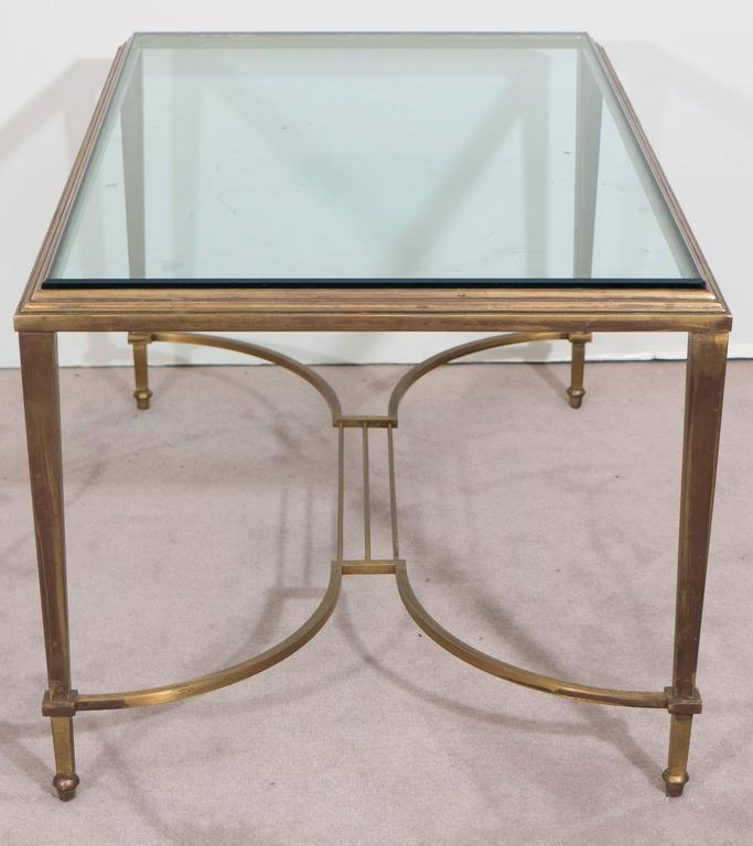 Neoclassical Style Glass Top Coffee Table in Brass, Attributed to Maison Jansen For Sale 4