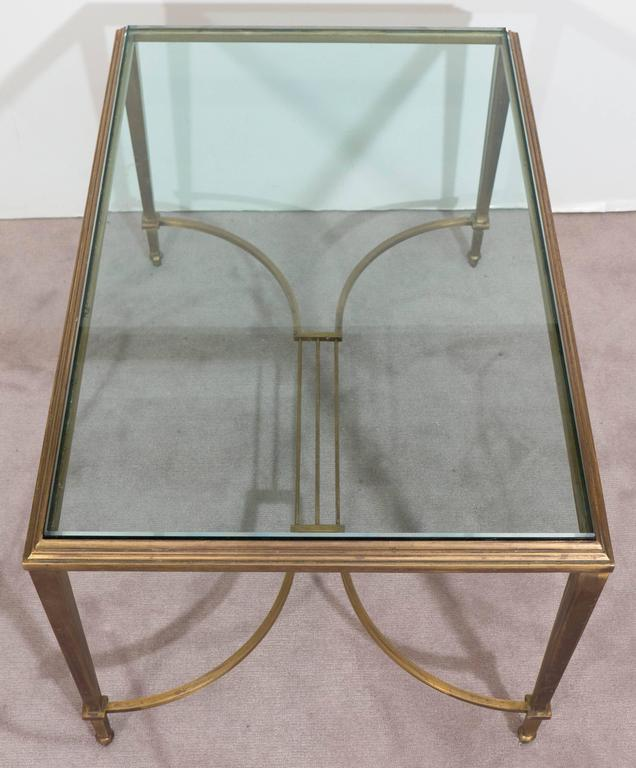 Neoclassical Style Glass Top Coffee Table in Brass, Attributed to Maison Jansen For Sale 5