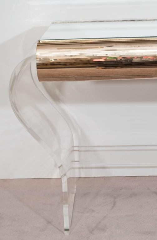 Hill Manufacturing Vanity On Lucite Base With Stool At 1stdibs