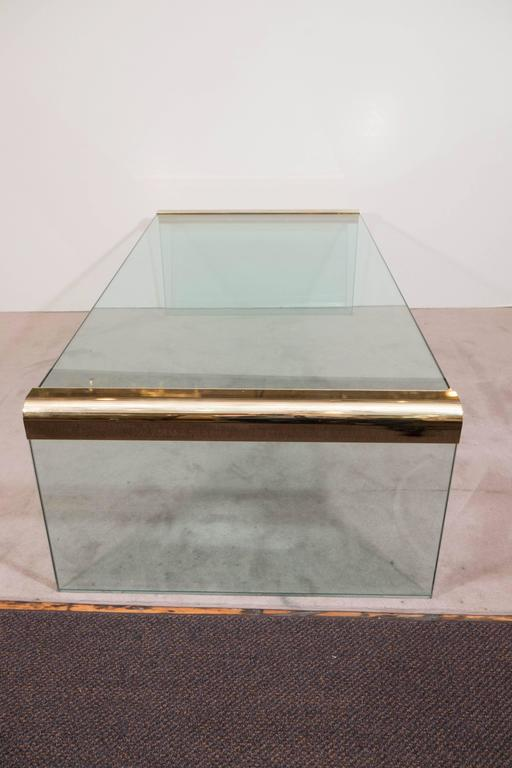 Pace Collection Glass Waterfall Coffee Table With Brass Trim In Good  Condition For Sale In New