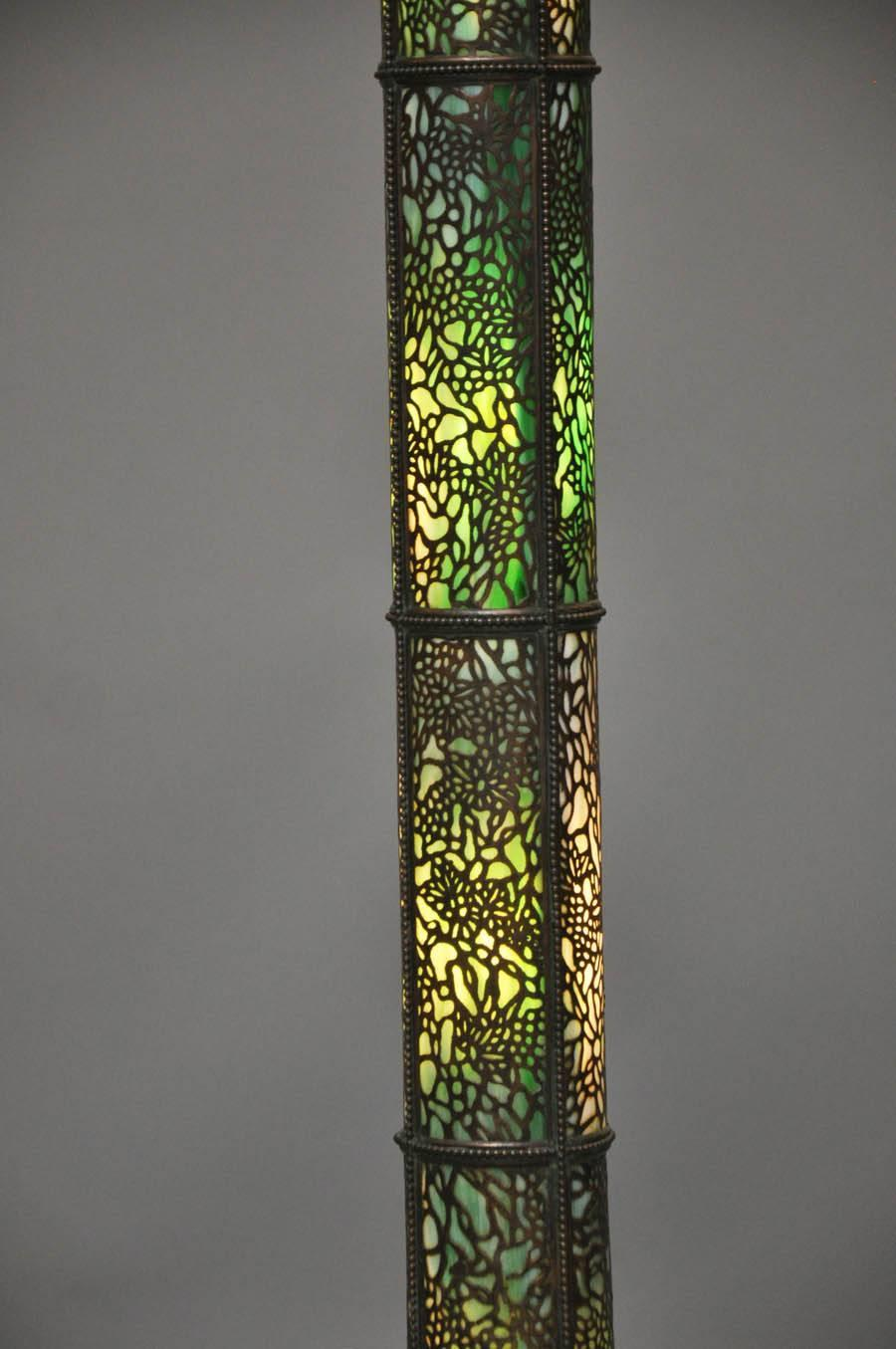 copper and bronze floor lamp with stained glass for sale at 1stdibs. Black Bedroom Furniture Sets. Home Design Ideas