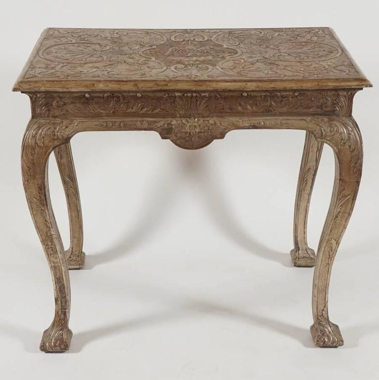 Exceptional and exceptionally rare late Queen Anne, George I period rectangular form pier table having original silvered (white gold leaf) gesso finish with incised top having central spread-winged eagle on cloud surrounded by punchwork, foliate,