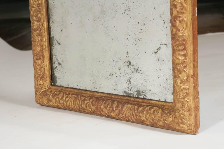 Danish Baroque Carved Giltwood Mirror With Original Plate