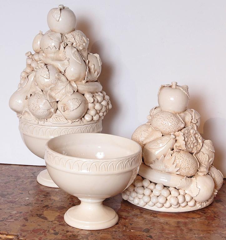 Pair Of Tall Italian Creamware Pedestal Bowls Of Fruit At