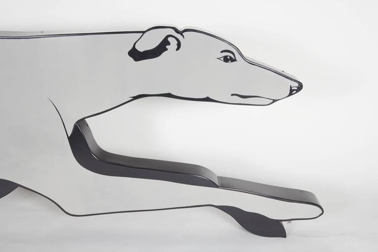 American Large and Rare Enamel Greyhound Bus Sign For Sale