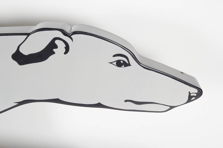 Enameled Large and Rare Enamel Greyhound Bus Sign For Sale