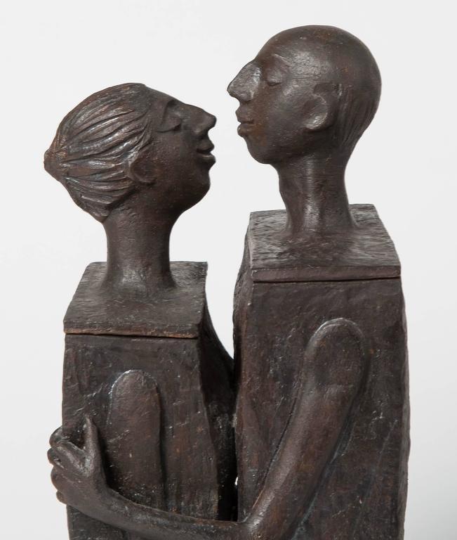 Embracing Male and Female Ceramic Figural Lidded Box Sculpture 2
