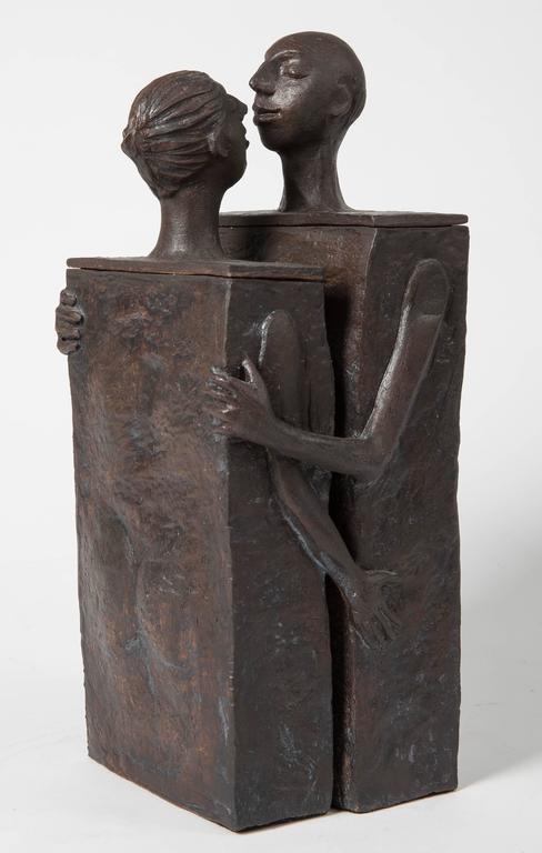 Embracing Male and Female Ceramic Figural Lidded Box Sculpture 3