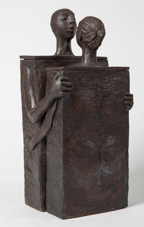 Embracing Male and Female Ceramic Figural Lidded Box Sculpture 4