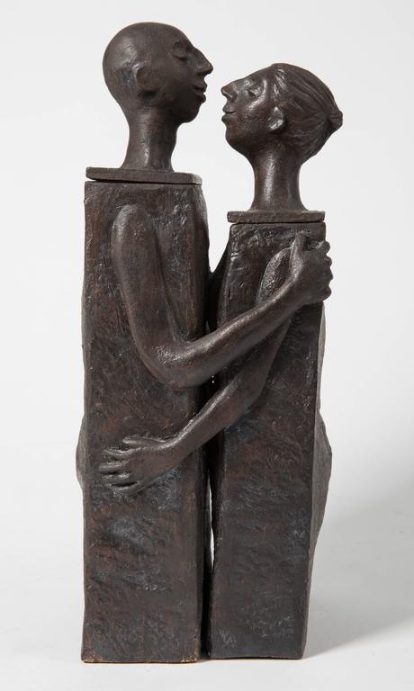 Embracing Male and Female Ceramic Figural Lidded Box Sculpture 5