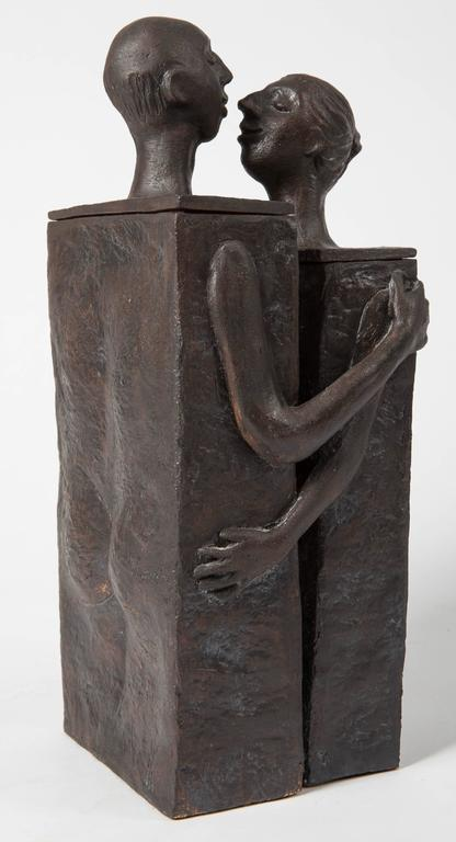 Embracing Male and Female Ceramic Figural Lidded Box Sculpture 6