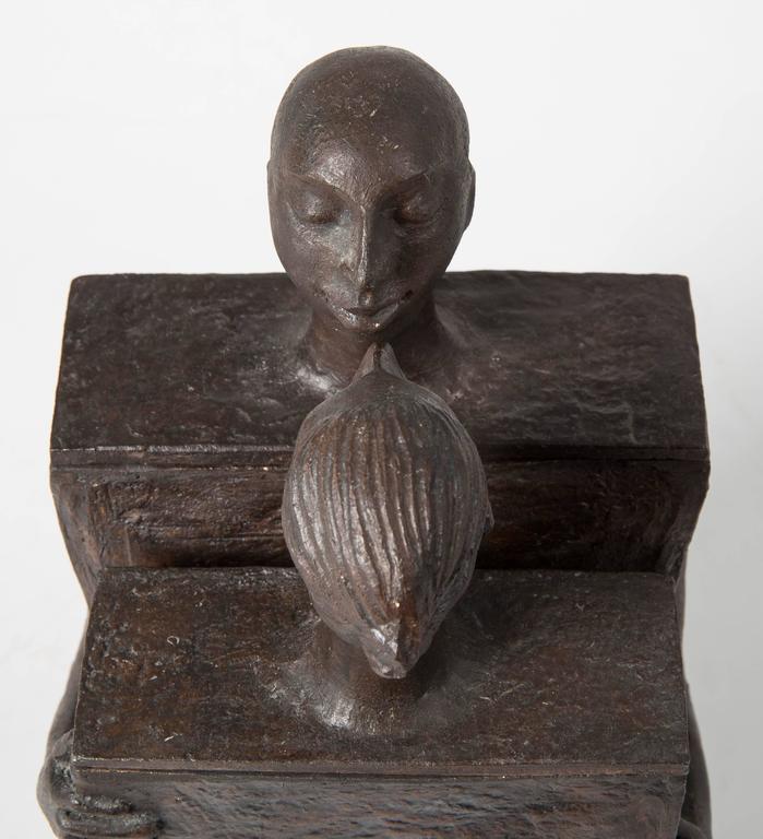 Embracing Male and Female Ceramic Figural Lidded Box Sculpture 7