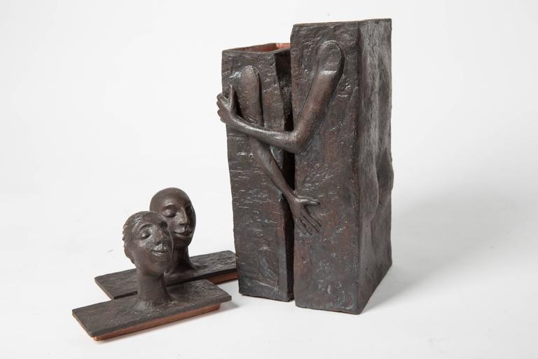 Embracing Male and Female Ceramic Figural Lidded Box Sculpture 9