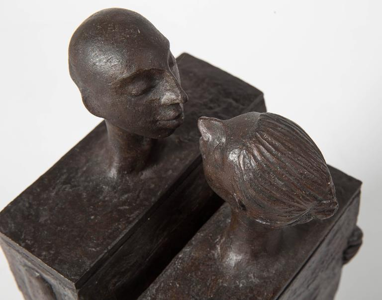 Embracing Male and Female Ceramic Figural Lidded Box Sculpture 10
