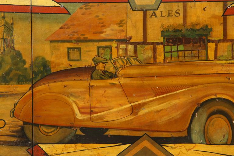 Early Carnival Automobile Ride Original Hand-Painted Rounding Board 2
