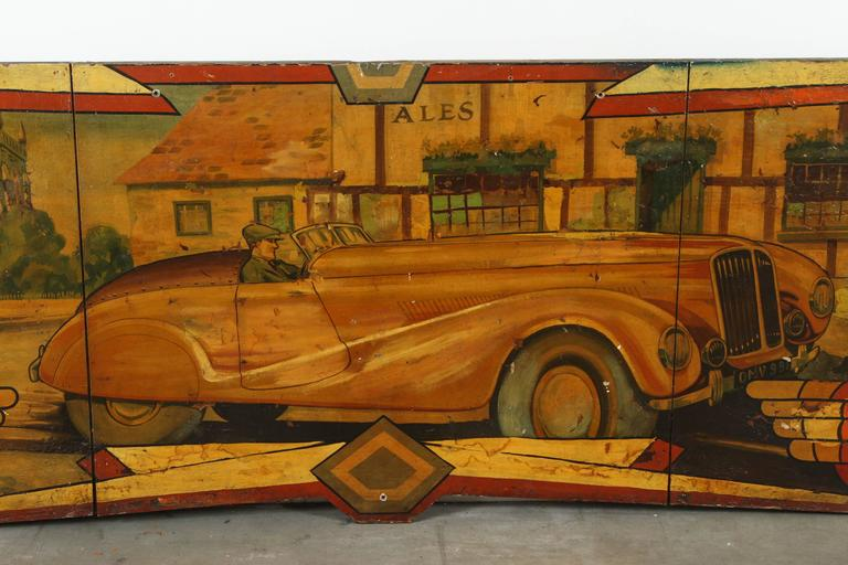 Early Carnival Automobile Ride Original Hand-Painted Rounding Board 7