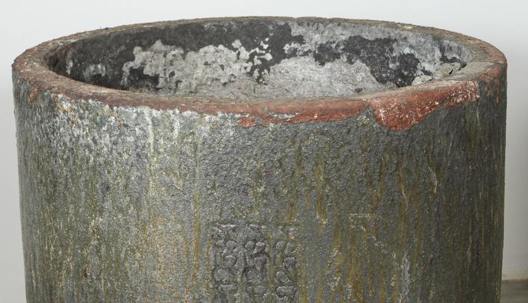 Machine Age Large-Scale Glazed Lava Stone Foundry Crucible Garden Planter For Sale