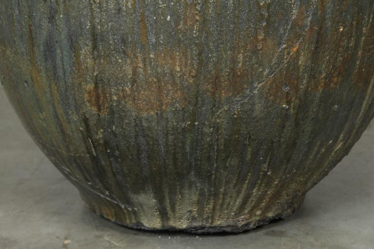 Unknown Large-Scale Glazed Lava Stone Foundry Crucible Garden Planter For Sale